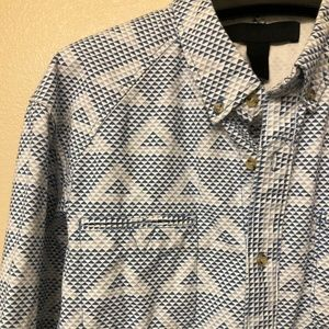 black scale shirt jacket blue white long sleeve L